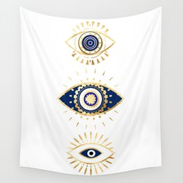 evil eye times 3 navy on white Wall Tapestry