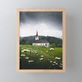 Church in a Meadow Scenic Landscape Framed Mini Art Print