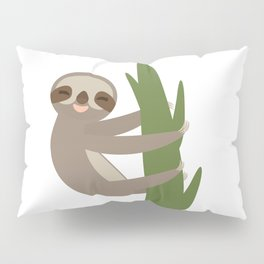 Three-toed sloth on green branch on white background Pillow Sham