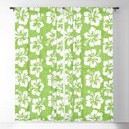 White Hibiscus on Green Blackout Curtain