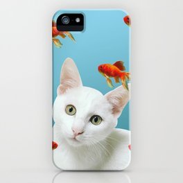 white lovely cat with goldfishes #cats iPhone Case
