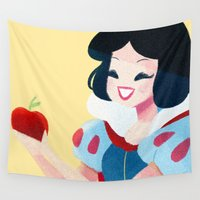 snow white Wall Tapestries featuring Snow White by Chabe Escalante