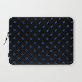 Brandeis Blue on Black Snowflakes Laptop Sleeve