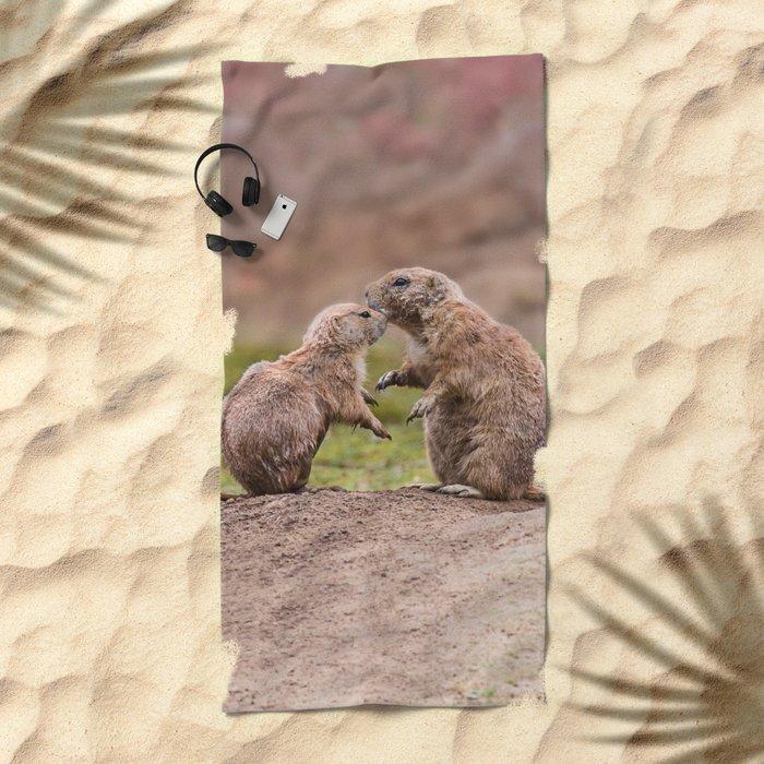 Cute little prairie dogs love Beach Towel