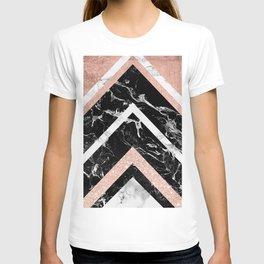 Modern rose gold glitter foil white black marble glitter triangles stripes T-shirt