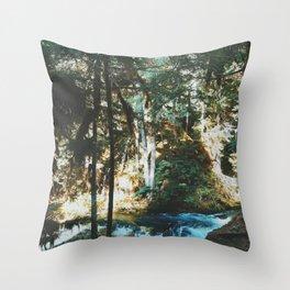 Exploring Sahalie Falls Throw Pillow