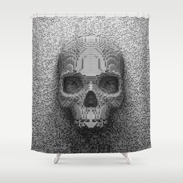 Pixel Skull B&W Shower Curtain