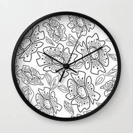 White black flowers Wall Clock