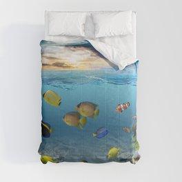 Underwater Ocean Tropical Coral Reef Comforters