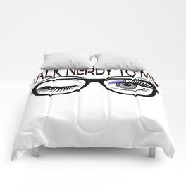 Talk Nerdy To Me Geek Glasses Winking Eye Periwinkle Shadow Comforters