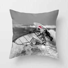 surf santa - wind surf Throw Pillow