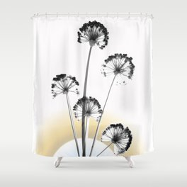black and white flower wallpaper and the sun, flower decor, printable art Shower Curtain