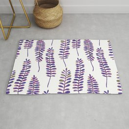 Watercolour Fern Pattern   Purple and Gold Rug