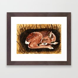 Before the First Snow (Fawn/ White tailed Deer) Framed Art Print