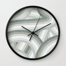 Elegant Gray Green Stripes Wall Clock