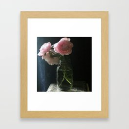 Peonies in Mason Jar Framed Art Print
