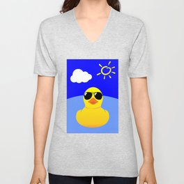 Cool Rubber Duck Yellow Unisex V-Neck