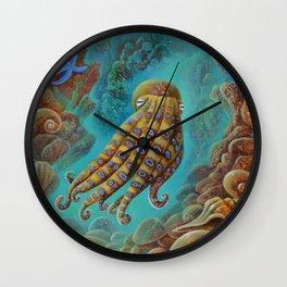 Blue Ring Octopus Wall Clock
