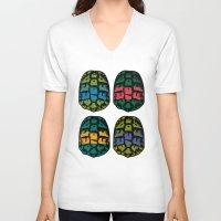 ninja turtles V-neck T-shirts featuring ninja shells by tama-durden
