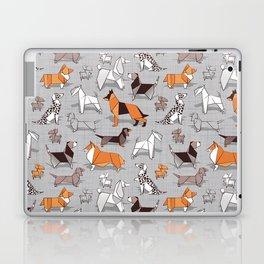Origami doggie friends // grey linen texture background Laptop & iPad Skin