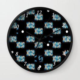 Blue flowers in the dark Wall Clock