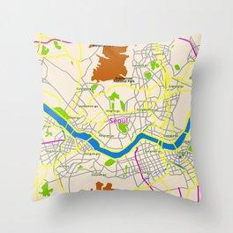 Seoul map Design Throw Pillow