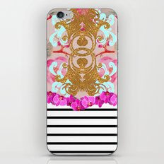 Fashion Girly Pink Vintage Floral Trendy Stripes Pattern iPhone & iPod Skin