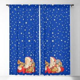 Santa Claus & Christmas Stars on the Night Sky Blackout Curtain