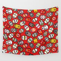 sugar skulls Wall Tapestries featuring Mexican Sugar Skulls Red by ladykerry
