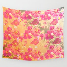 flowers, flowers, rose, silver, orange, gold, colored, vintage, elegant, textile, Wall Tapestry