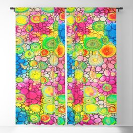 Psychedelic Circles Mixed media painting Blackout Curtain