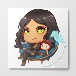 Sunaya Reading Chibi Metal Print