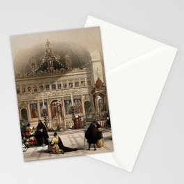 Vintage Print - The Holy Land, Vol 2 (1843) - The chapel of the Greek monastery of St. Saba Stationery Cards