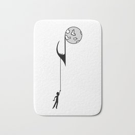 Man hanging on a musical note Bath Mat