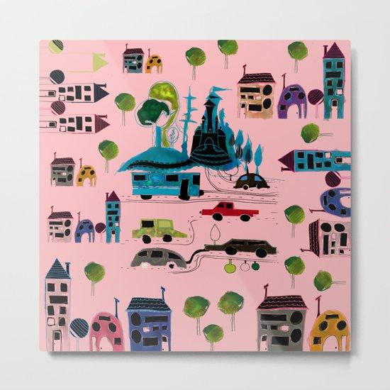 CityView pink Metal Print