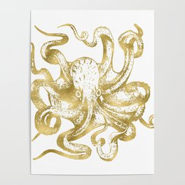 Gold Octopus Poster