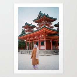 Girl at the Heian Shrine in Kyoto, Japan in Winter - 35 mm Film Photograph Art Print