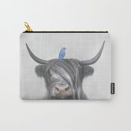 Scotish Cow & Blue Bid Carry-All Pouch