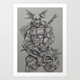 Helmeted Dragonslayer! Art Print