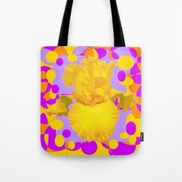 Modern Yellow Iris Purple Patterns Flowers art Tote Bag