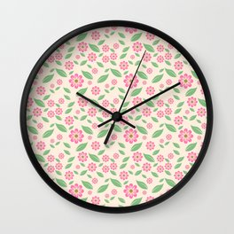 vintage pink flowers Wall Clock