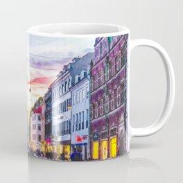 Painting of a Warm Summer's Sunset over Copenhagen's Strøget Shopping Street Coffee Mug