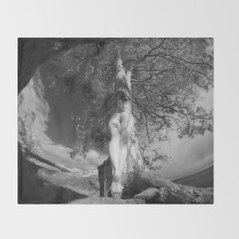 9102-LP Tree of Life Nature Goddess Earth Mother One with the Tree BW Fine Art Nude Throw Blanket