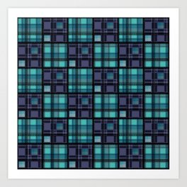Blue purple colorful checkered pattern . Art Print