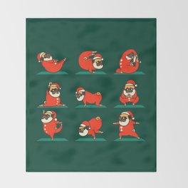 Santa Pug Yoga Throw Blanket