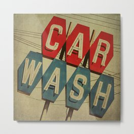 Retro Car Wash Sign Metal Print