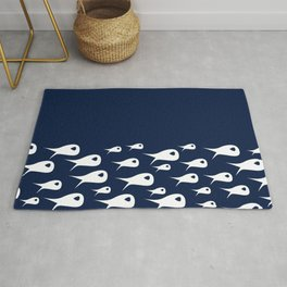 Fish Stripe in White and Navy Blue Rug