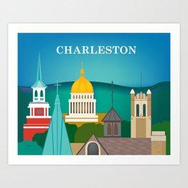 Charleston, West Virginia - Skyline Illustration by Loose Petals Art Print