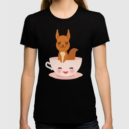 Cute Kawai pink cup with red squirrel T-shirt