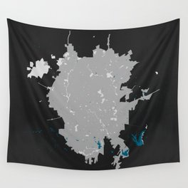 San Antonio Texas Minimalist Map (Dark) Wall Tapestry
